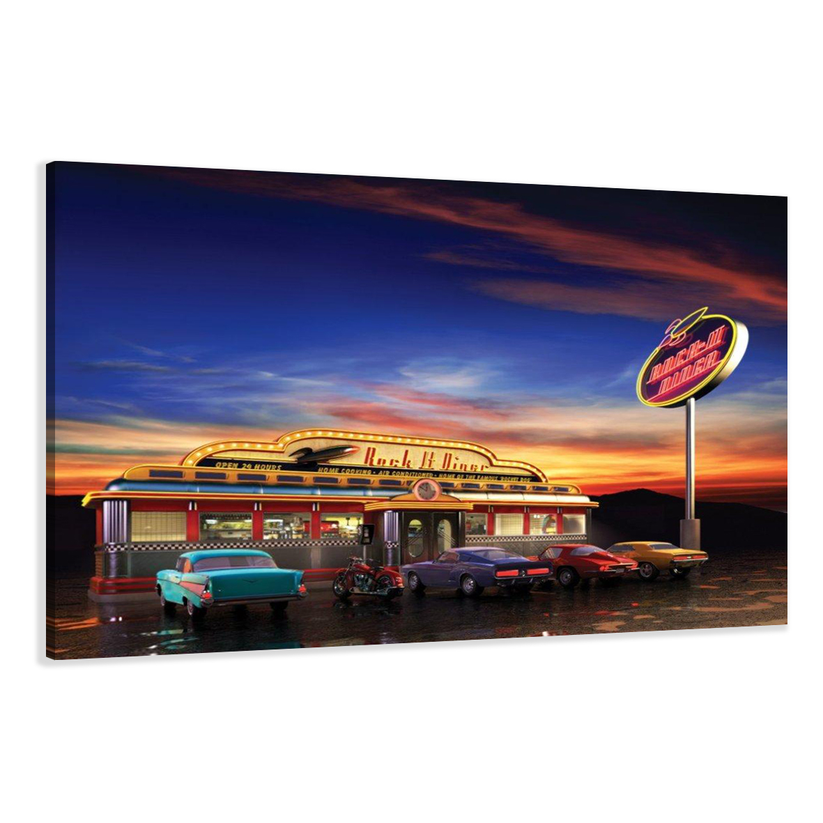 1527 C2 USA Retro Diner Tankstelle Oldtimer, Leinwandbild auf Rahmen ...